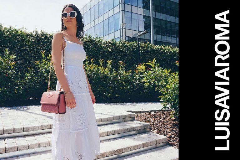 LUISAVIAROMA Weiße Sonnebrille und Rosa Handtasche