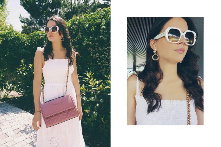 LUISAVIAROMA Sommer Accessoires Rosa Handtasche Weiße Sonnenbrille