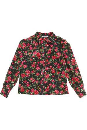 Dolce & Gabbana BLUSE AUS SEIDENEM CREPE DE CHINE MIT ROSENDRUCK