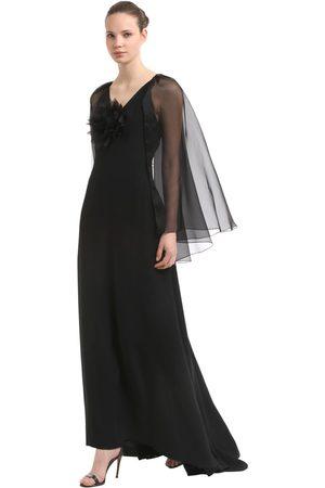 INGIE Langes Kleid Aus Kreppenvers Und Satin Mit Cape