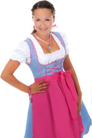 Edelnice Damen Dirndl - Süßes Mini Dirndl 3-teilig hellblau pink
