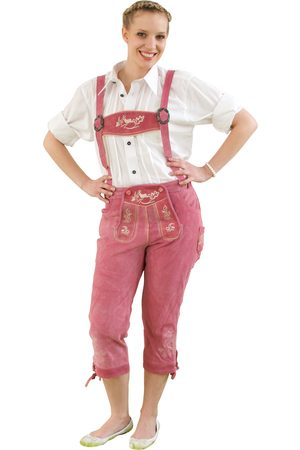 Edelnice Damen Trachtenlederhose Kniebundhose pink