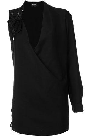 Anthony Vaccarello Kleid mit asymmetrischen Ärmeln