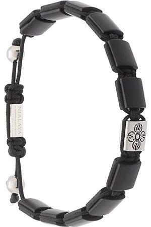 Nialaya Herren Armbänder - Sterlingsilberarmband mit Onyx-Beschichtung