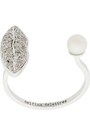 DELFINA DELETTREZ 18kt 'Anatomik' Weißgoldring mit Diamanten und Perle