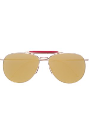 Thom Browne Pilotenbrille mit rotem Steg