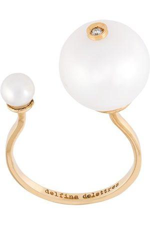 DELFINA DELETTREZ 18kt 'Pearl Piercing' Gelbgoldring mit Diamant