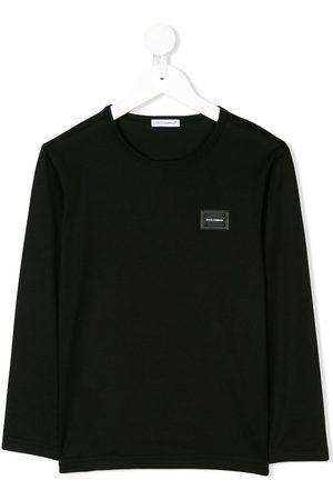 Dolce & Gabbana Langarmshirt mit Logo-Schild