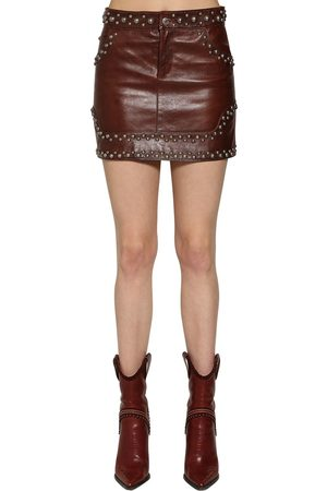 Dsquared2 STUDDED LEATHER MINI SKIRT