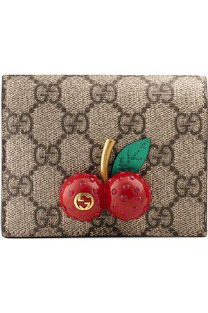 Gucci Kartenetui aus GG Supreme mit Kirschen