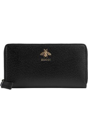 Gucci Animalier Brieftasche mit Rundumreißverschluss aus Leder