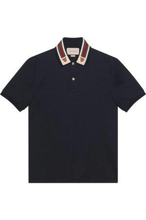 Gucci Baumwoll-Poloshirt mit Web und Felinekopf