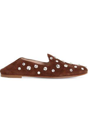 Miu Miu 10mm Hohe, Verzierte Loafers Aus Wildleder