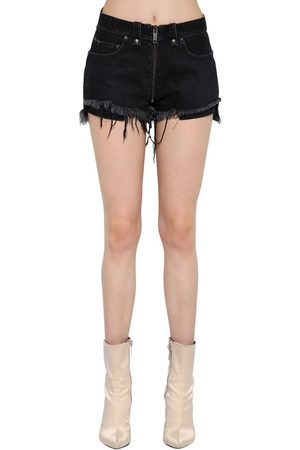UNRAVEL Stretch Cotton Denim Shorts W/ Full Zip