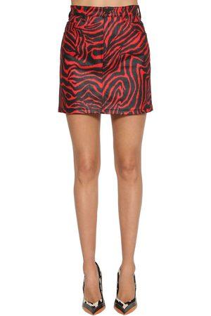 Calvin Klein Zebra Printed Stretch Cotton Denim Skirt