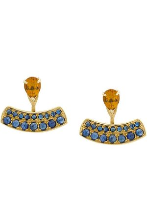 Dubini Damen Ohrringe - 18kt 'Theodora' Gelbgoldohrringe mit Aquamarin und Rubellit
