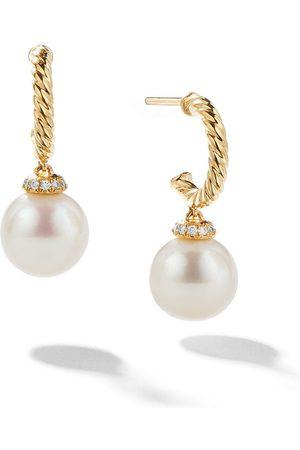 David Yurman 18kt 'Solari' Gelbgoldcreolen mit Diamanten und Perlen