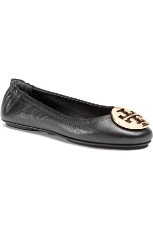 Tory Burch Minnie Travel Ballet With Metal Logo 50393 Perfect Black/Gold 013