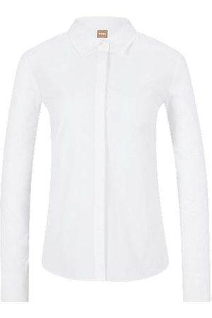 BOSS Regular-Fit Bluse aus elastischer Baumwoll-Popeline