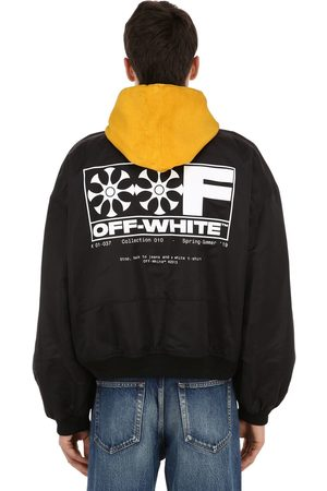 OFF-WHITE Printed Nylon Bomber Jacket W/ Hood