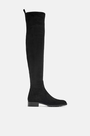 Zara Damen Overknees - Flacher overknee-stiefel