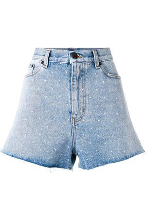 Saint Laurent Gepunktete Jeans-Shorts