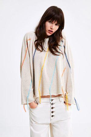 Zara Sweatshirt aus strick mit stickerei und fransen