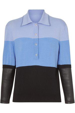 Burberry Poloshirt mit Lederdetail