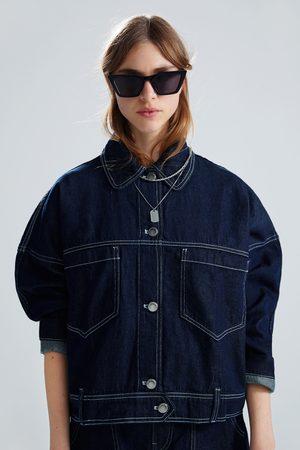 Zara Jeansjacke mit kombinierten steppnähten