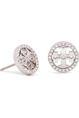 Tory Burch Ohrringe - Crystal Logo Circle Stud Earring 53422 Tory Silver/Crystal 042
