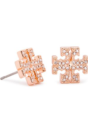 Tory Burch Ohrringe - Crystal Logo Stud Earring 53423 Rose Gold/Crystal 696