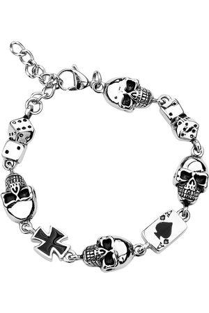 etNox hard and heavy Herren Armbänder - Gambling Skull Armband silberfarben