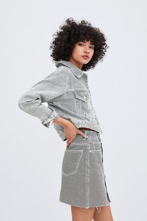 Zara Kurze jeansjacke mit hahnentrittmuster