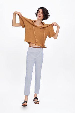 Zara Gestreifte chinohose mit gürtel