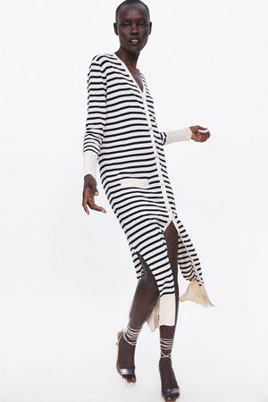 Zara Lange strickjacke mit streifen