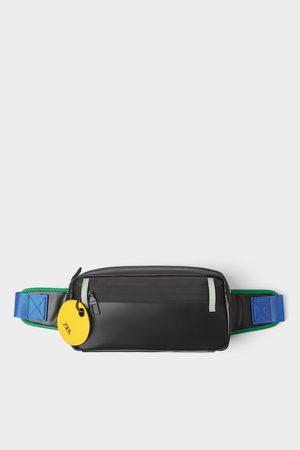 Zara Schwarze gürteltasche mit farbdetails