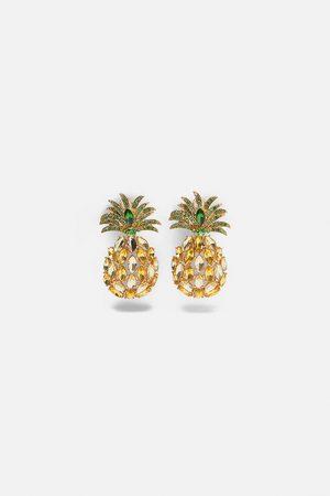 Zara Ohrring mit ananas und schmuckstein