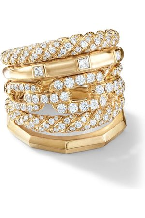 David Yurman 18kt 'Stax' Gelbgoldring mit Diamanten