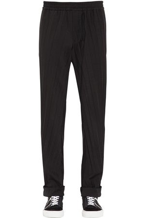 Valentino Herren Lange Hosen - Pleated Wool Blend Jogging Pants