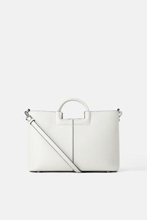 Zara Damen Handtaschen - Citytasche mit geflochtenem henkel
