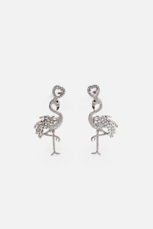 Zara Lange flamingo-ohrringe mit strass