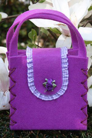 Edelnice Damen Dirndl - Dirndltasche Filz lila Rose