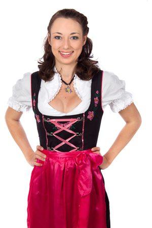 Edelnice Langes Dirndl 3-teilig Trachtenkleid pink