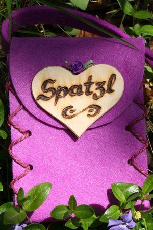 Edelnice Mini Dirndltasche Filz lila Spatzl