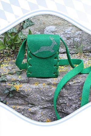 Edelnice Mini Dirndltasche Filz dunkelgrün Hirsch