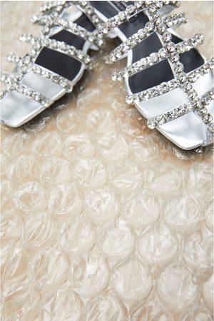 Zara Flache sandale in schwarz mit schmucksteinen