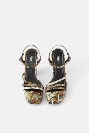 Zara Damen Sandalen - Absatzsandalette mit animalprint