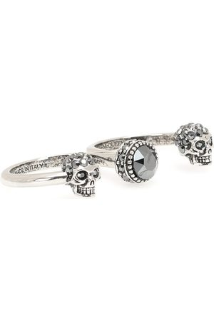 Alexander McQueen Ring Double Mini Skull
