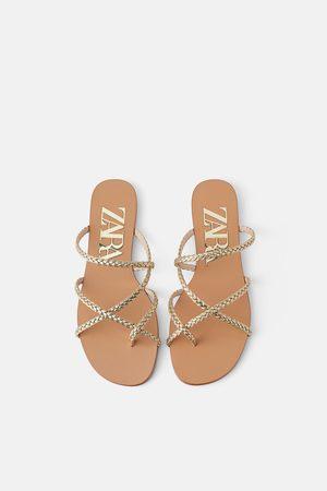 Zara Damen Flip Flops - Flacher zehentrenner mit flechtriemchen
