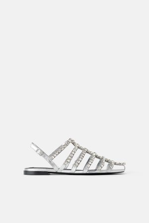 Zara Damen Sandalen - Flache sandale in schwarz mit schmucksteinen
